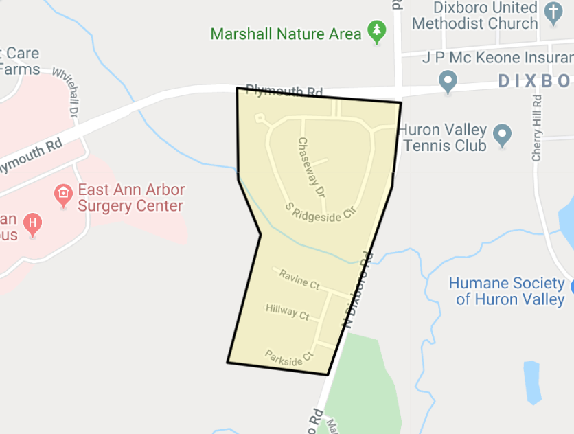 Screenshot of google map of the Fleming Creek neighborhood