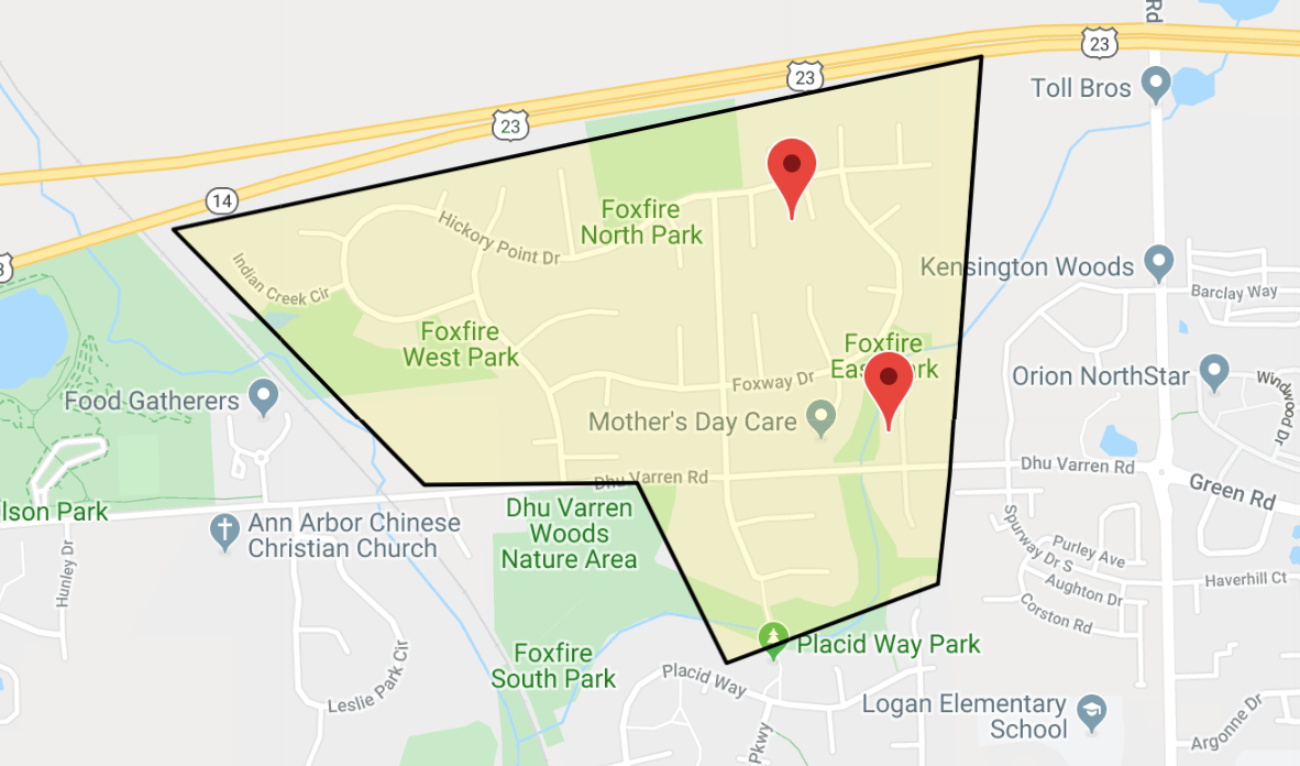 screenshot of the google map depicting the foxfire neighborhood dimensions