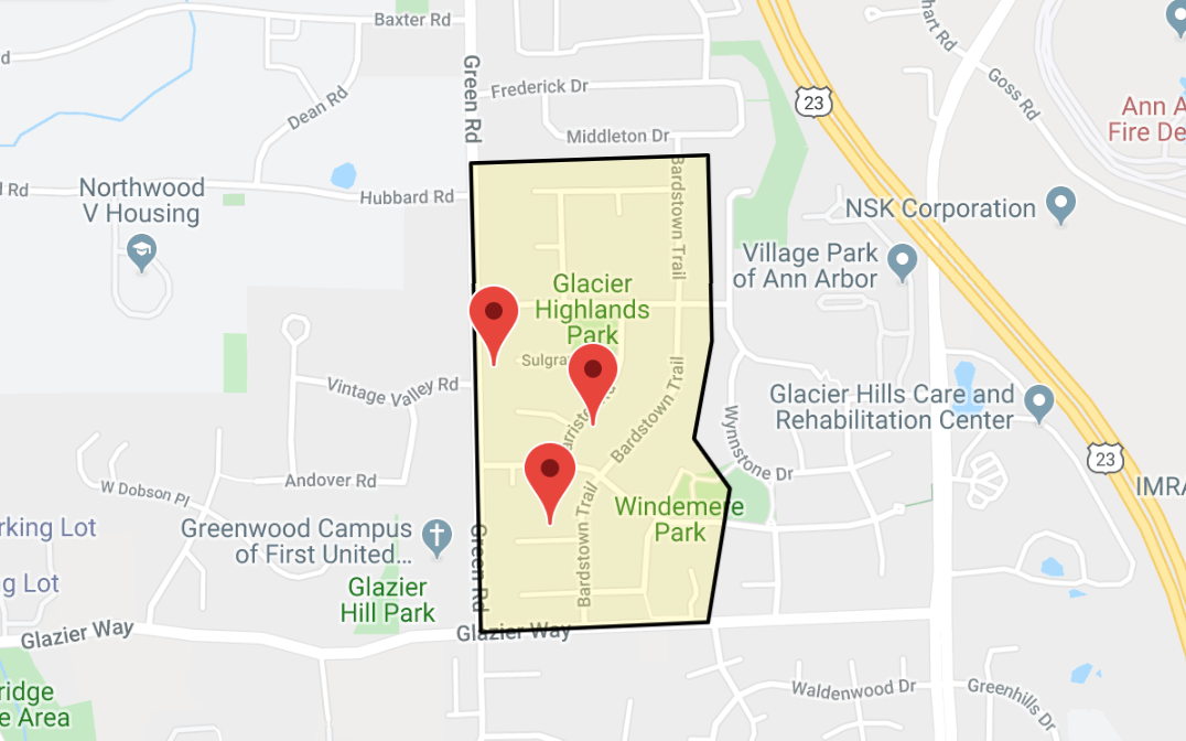 screenshot of google map depicting the glacier highlands neighborhood dimensions. looks like a small rectangle just north of glazier way in A2