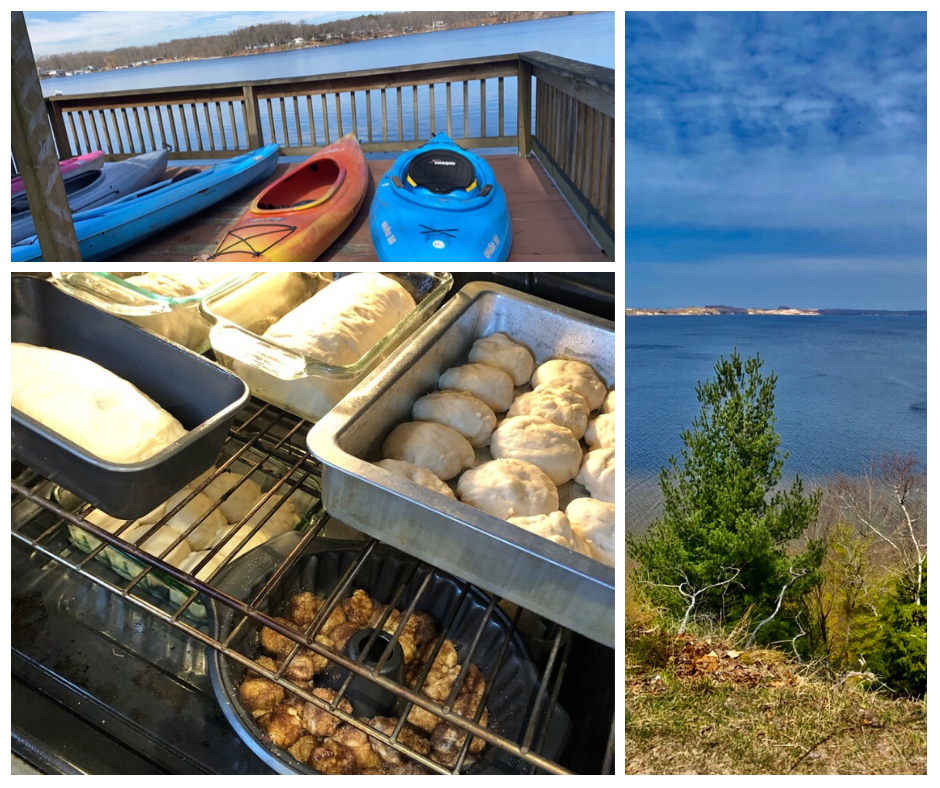 Kayaks and the view from our deck, homemade bread, rolls, and monkey bread proofing in the over, and the view of Hamlin Lake from our hike at Ludington State Park.