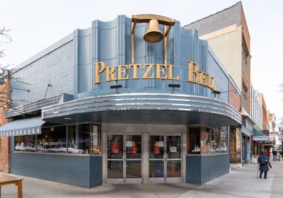 Pretzel Bell Restaurant. Main and Liberty in Downtown Ann Arbor.